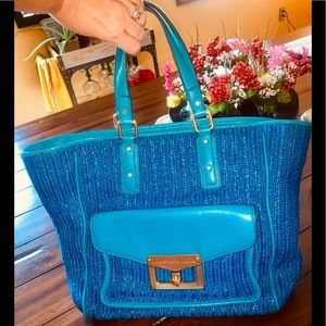 MARC JACOBS STRAW LEATHER HANDBAG TURQUOISE BLUE